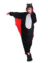 cheap -Adults' Kigurumi Pajamas with Slippers Bat Onesie Pajamas Costume Flannel Fabric Black Cosplay For Animal Sleepwear Cartoon Halloween Festival / Holiday / Christmas