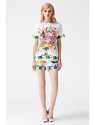 abordables -Mujer Simple Chic de Calle Noche Casual/Diario Verano Blusa Pantalón Trajes,Escote Redondo Floral Manga Corta Inelástica