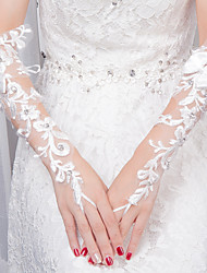 Wrist Length Fingerless Glove Lace Bridal Gloves All Seasons Rhinestone Floral Bow