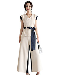 cheap -Women's Going out Street chic Summer T-shirt Pant Suits,Solid Striped Round Neck Sleeveless Backless Cotton Inelastic