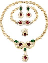 baratos -Mulheres Zircônia Cubica / Chapeado Dourado Conjunto de jóias - Clássico / Fashion / Estilo simples Dourado Colar Para Casamento / Festa