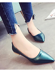 cheap -Women's Flats Comfort Summer Real Leather PU Casual Black Green Blushing Pink Under 1in