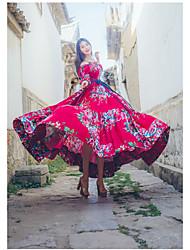 Balançoire Robe Femme Décontracté / Quotidien Sexy Bohème Chinoiserie,Imprimé Asymétrique Maxi Manches Courtes Coton Eté Taille Haute