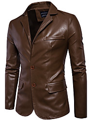 cheap -Men's Daily Simple Casual Winter Fall Leather Jacket,Solid Round Neck Long Sleeve Regular PU