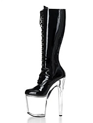 cheap -Women's Shoes PU Winter Fashion Boots Boots Stiletto Heel Round Toe Knee High Boots Zipper Lace-up for Party & Evening White Black Red