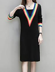 billige -Dame Plusstørrelser I-byen-tøj Bomuld Løstsiddende Kjole - Ensfarvet Midi U-hals