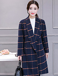 cheap -Women's Daily Going out Street chic Fall Coat,Houndstooth Shirt Collar Long Sleeve Long Cashmere