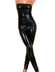 Hip-pop Girl Black Sexy Faux Leather Leotard Women's Halloween Costume
