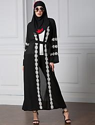 Women Muslim Cardigan Spliced Crochet Lace Hem Long Sleeve Islamic Abaya Maxi Dress Outwear Blue/Red Muslim Female Dress 2017