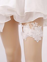 baratos -Elástico Aquecedores de Pernas / Festa / Casamento Wedding Garter Com Pérolas Sintéticas / Apliques Ligas