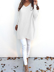Women's Daily Long Pullover,Solid V Neck Long Sleeves Polyester Winter Fall Medium Micro-elastic