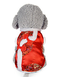 cheap -Dog Vest Dog Clothes Floral/Botanical Red Cotton Down Costume For Pets New Year's