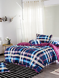 Duvet Cover Sets Plaid/Checkered 4 Piece Reactive Print 1pc Duvet Cover 2pcs Shams 1pc Flat Sheet