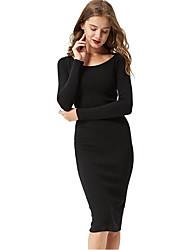 Women's O Neck Long Sleeve Bodycon Dress Knee Length Formal Dress