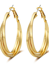 cheap -Women's Hoop Earrings Jewelry Tassel Punk Hip-Hop Gothic Luxury Simple Style Oversized Rose Gold Alloy Circle Geometric Jewelry For
