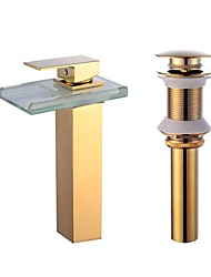 cheap -Centerset Waterfall Ceramic Valve One Hole Gold , Bathroom Sink Faucet