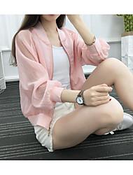 Feminino Jaqueta Casual Simples Verão Outono,Letra Curto Algodão Colarinho Chinês Manga Longa
