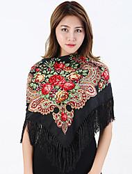 Women's Cotton Fashion Cute Floral Square  Fall Winter Scarf 110*110CM