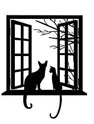 cheap -3D Opening Window Cats Wall Stickers Vinyl Removable Tree Branches Leaves Animals Cats Wall Decals Home Decor For Baby Kids Room Living Room