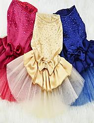 abordables -Chat Chien Robe Vêtements pour Chien Paillette Jaune Rouge Bleu Noir Fibres acryliques Costume Pour les animaux domestiques Femme Soirée
