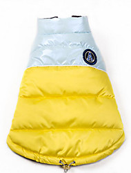 cheap -Dog Coat Puffer / Down Jacket Dog Clothes Warm Casual/Daily Solid Gray Yellow Blue Light Blue Costume For Pets