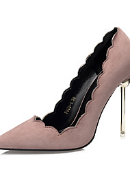 Women's Shoes Suede Fall Comfort Heels Stiletto Heel Pointed Toe For Dress Khaki Light Pink Green Gray Black
