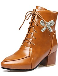 cheap -Women's Boot Combat Boot Fall Winter Leatherette Casual Dress Rhinestone Bowknot Zipper Lace-up Chunky Heel Yellow Beige Black 2in-2 3/4in