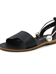 abordables -Mujer Sandalias Suelas con luz Verano PU Casual Perla Tacón Plano Negro Almendra Plano