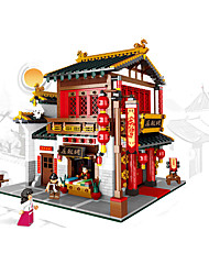 cheap -XingBao 01001 2787Pcs Creative Chinese Style The Chinese Silk and Satin Store Set Educational Building Blocks Bricks Toys Model