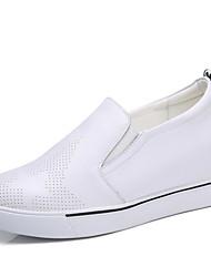 preiswerte -Damen Sneaker Leuchtende Sohlen Echtes Leder Leder Frühling Sommer Herbst Winter Normal Kombination Keilabsatz Weiß Schwarz 5 - 7 cm