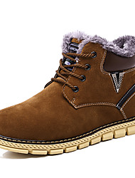 Men's Boots Snow Boots Cowhide Suede Fall Winter Casual Outdoor Lace-up Flat Heel Brown Dark Blue Flat