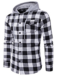 cheap -Men's Daily Work Casual Spring Fall Shirt,Plaid Hooded Long Sleeves Polyester