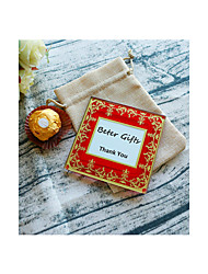cheap -1pcs Exquisite Glass Photo Coaster in Burlap Bag DIY Party Favors Beter Gifts® Life Style