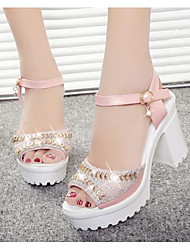 Women's Shoes Real Leather PU Spring Basic Pump Heels For Casual White Blushing Pink Light Blue