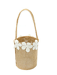 cheap -Wedding Bride Burlap Basket Flower Girl Basket Linen 9 7/8 (25 cm) Laces Flower(s) 1