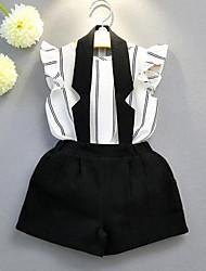 cheap -Girls' Stripe Clothing Set,Cotton Polyester Summer Sleeveless Stripes White