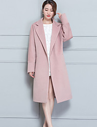 Women's Casual/Daily Simple Fall Winter Coat,Solid Peter Pan Collar Long Sleeve Long Cashmere Polyester