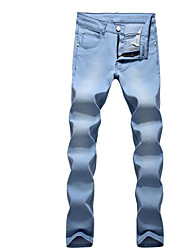Men's Mid Rise Micro-elastic Jeans Pants,Simple Skinny Solid