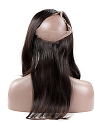 cheap -360 Lace Frontal Closure Straight Remy Hair Natural Hairline With Baby Hair 100% Peruvian Virgin Human Hair