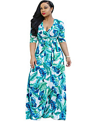 Women's V Neck Print Beach Boho Sheath Maxi Long Sleeve Dress