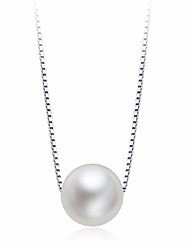 Women's Pendant Necklaces Pearl Round Pearl Sterling Silver Natural Elegant Jewelry For Party Formal