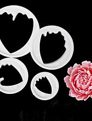 cheap -4PCS/Set Small Peony Flower Fondant Sugarcraft Cutter Decorating Sugarcraft Gum Paste Tools CuPCake