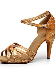 cheap -Women's Silk Sandal Heel Indoor Buckle Black Brown Customizable