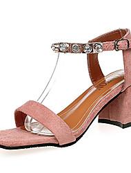 economico -Per donna Scarpe Cashmere Estate Suole leggere Sandali Heel di blocco Punta aperta Fibbia per Casual Nero Rosa