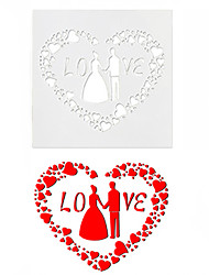 cheap -Love 3D Mould Frostings Spray Cookie Fondont Cup Cake Coffee Latte Template Wedding