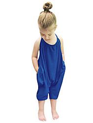 3795011492a4b Bébé Fille Couleur Pleine Sans Manches Normal Coton Ensemble de Vêtements  Bleu