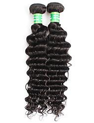 cheap -8A Brazilian Virgin Hair Deep Wave 2 Bundles Afro Curly Human Hair Extensions Natural Black 200G/lot
