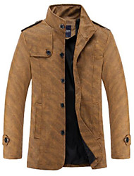cheap -Men's Daily Simple Casual Winter Fall Jacket,Solid Peaked Lapel Long Sleeve Regular Others