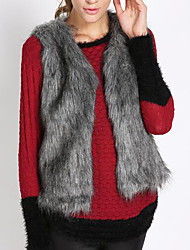 Women's Plus Size Casual/Daily Work Simple Vintage Winter Vest,Solid Color Block Round Neck Sleeveless Short Faux Fur