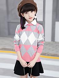 Girls' Solid Print Geometic Blouse,Cotton Rayon Winter Fall Long Sleeve Blushing Pink Light Blue